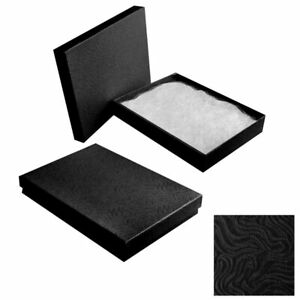 100 Swirl Black Cotton Filled Jewelry Packaging Gift Boxes Necklace Bracelet