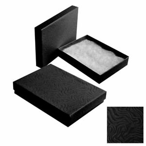100 Swirl Black Cotton Filled Jewelry Packaging Gift Boxes Necklace Bracelets