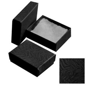 100 Swirl Black Cotton Insert Gift Cardboard Paper Boxes Earring Ring Jewelry