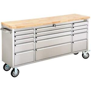 Grizzly T27880 72 Inch 15 Drawer Stainless Steel Industrial Cabinet Wood Top