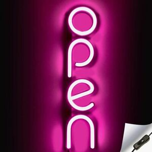 Vertical Led Neon Open Sign For Business Pink