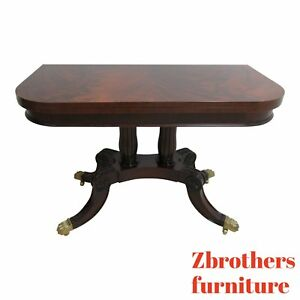 Councill Craftsman Furniture Flip Top Game Dining Table Paw Foot Flame Mahogany