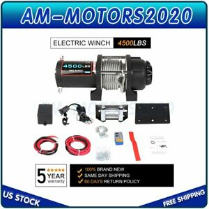 12v Electric Winch 4500lbs Towing Steel Cable Off Road With Wireless Remote