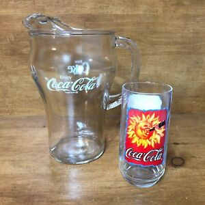 Coca Cola Glass Pitcher Enjoy Coke Sun Drinking Glass Sold As Set