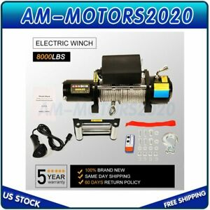 12v Electric Winch Recovery 8000lbs Steel Cable Truck Suv W Remote Control