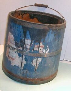 Early 1900 S Wood Shipping Bucket In Blue Paint With Handle