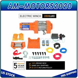 1pcs Electric Winch 3500lbs Trailer Steel Cable Off Road With Wireless Remote