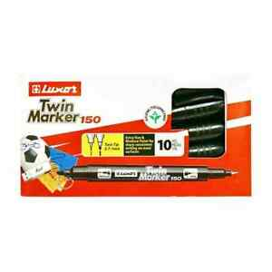 Dual Tips Permanent Marker Black 10 Pack