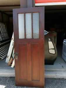 Interior Antique Wood Door 3 Panes Privacy Glass 32 X 83 Can Ship
