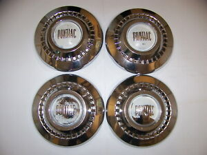 1955 Pontiac Hubcaps Poverty Dish Caps Oem 4 1956 1957