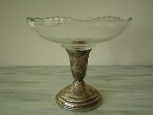 Vintage Weighted Sterling Silver Pedestal 6 Round Glass Ripple Edge Compote