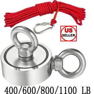 400 1100lb Double Sided Strong Neodymium Fishing Magnet Pulling Force W Rope