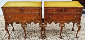 Pair Antique English 20th C Walnut Ball Claw Chippendale Dresser Commodes