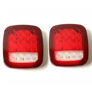 A Pair Universal Truck 16 Led Stud Mount Stop Car Turn Signal Light Red White