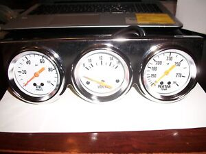 Triple Gauge Kit Wt op volts 2 White Face Mechanical With Hardware