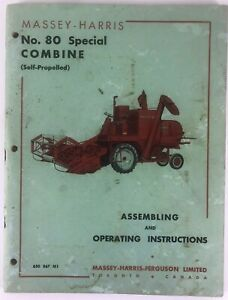 Massey Harris 80 Combine Assembly Operating Instructions Manual Oem