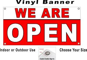 We Are Open Banner Sign Your Choice Of Sizes Free Shipping