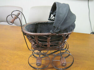Vintage Wicker Wood Metal Baby Doll Buggy Carriage Stroller 14 X 7 X 12 5