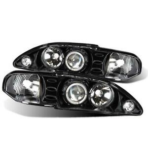 Cg Ford Mustang 94 98 1 Pc Projector Headlight Halo Black Clear Amber