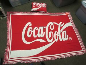COCA COLA LARGE BLANKET OR THROW 69 X 47 NEW WITH TAGS + COKE PILLOW