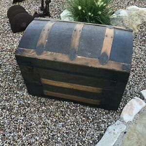 Antique Victorian Ladies Stagecoach Steamer Trunk Arched Top Rare Small Size