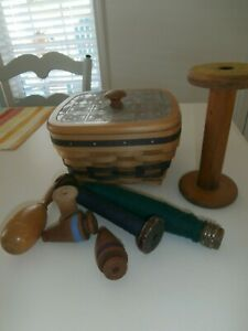 Lot Of 10 Vintage Items Darning Wooden Bobbins Spools Wendell August Basket Lid