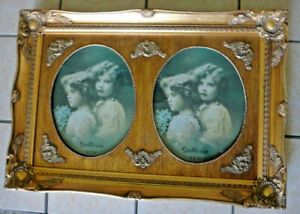 Vintage Baroque Ornate Gold Gilt Wood Picture Frame Double Oval 15 X 22
