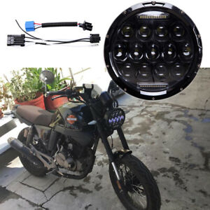 7 75w Motorcycle Round Projector Headlamp Drl Led Headlight For Harley Davidson
