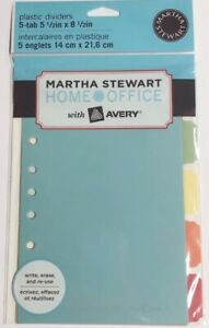 Martha Stewart With Avery 5 tab Plastic Dividers Reusable 6 In X 8 1 2 In New