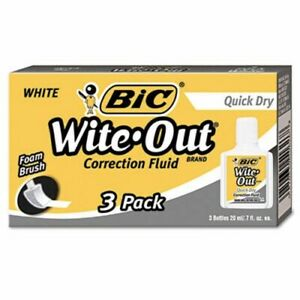 Bic Wite out Quick Dry Correction Fluid 20 Ml Bottle White 3 pk bicwofqd324