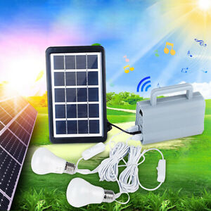 3w Solar Generator Home Dc System Kit With 2 Led Light Bulb Emergency Lamp For