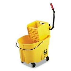 Rubbermaid Wavebrake 35 Qt Bucket side Press Wringer Yellow rcpfg758088yel