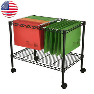 Usa Rolling File Cart Hanging File Folder Storage Organize Metal Office Supplies