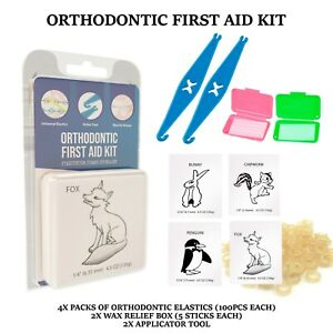 First Aid Emergency Dental Orthodontic Home Use Kit Elastics Rubber Bands Wax