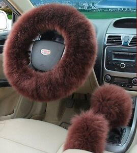 3pc Brown Australia Wool Fuzzy Autocar Steering Wheel Cover Universal For Winter