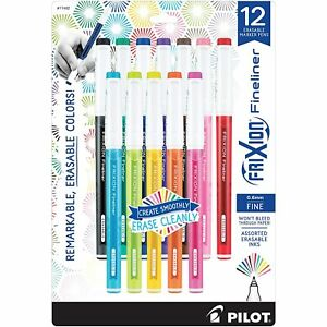 Pilot Frixion Fineliner Erasable Marker Pen Fine Point Assorted Colors Dozen
