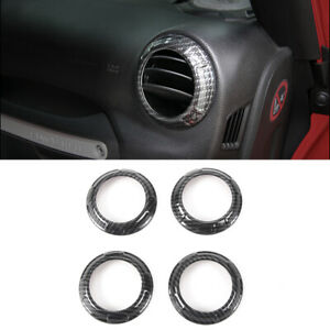 4pc Air Conditioning Vent Cover Trim For Jeep Wrangler Jk Unlimited Carbon Fiber