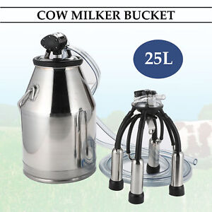 25l Dairy Cow Bucket Tank Barrel Milker Milking Machine Stainless Steel