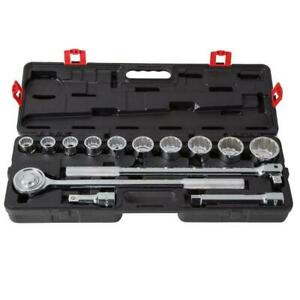 New Heavy Duty Husky 3 4 In Drive Ratchet And Sae Socket Set 14 piece