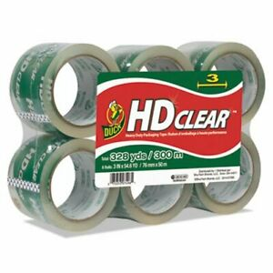 Duck Heavy duty Carton Packaging Tape 3 X 55 Yards Clear 6 pack duc0007496
