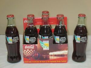 COCA COLA 6 PACK BOTTLES FULL CELEBRATING 50 YEARS OF THE KENTUCKY DERBY 2005
