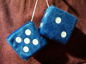 New Blue White 3 Inch Hanging Fuzzy Dice Auto Truck Mirror 50s Accessory 1