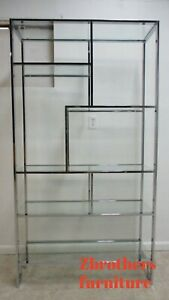 Vintage Thayer Coggin Chrome Flat Stock Etagere Shelf Curio Display Milo Baughma