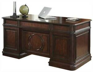 Brayton Classic Cherry 3 Piece Executive Office Desk Set With Credenza And Hutch