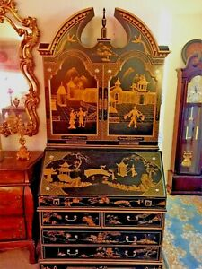 Antique Black Gold Chinoiserie Secretary Cabinet