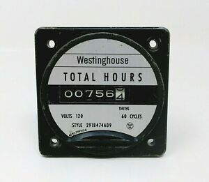 Westinghouse Electric Total Hours Meter 291b474a09 120 Volt 60hz low Usage