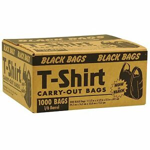 Black T Shirt Grocery Store Carry Out Plastic Shopping Bags 1000 Ct Case