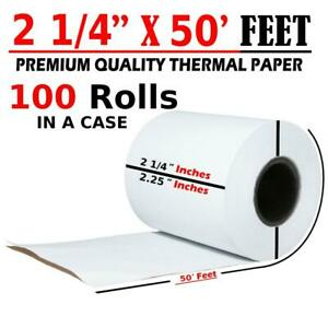 100 Rolls 2 1 4 X 50ft Thermal Paper Credit Card Pos Cash Register Receipt 57mm