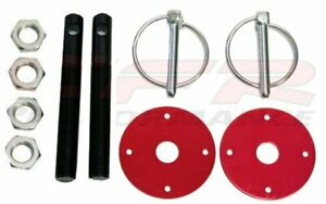 Black Hood Pin W Red Plates Kit Flip Over Style Universal For Chevy Ford Mopar