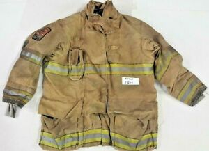 50x35 Globe Gxtreme Firefighter Brown Turnout Jacket Coat With Yellow Tape J809